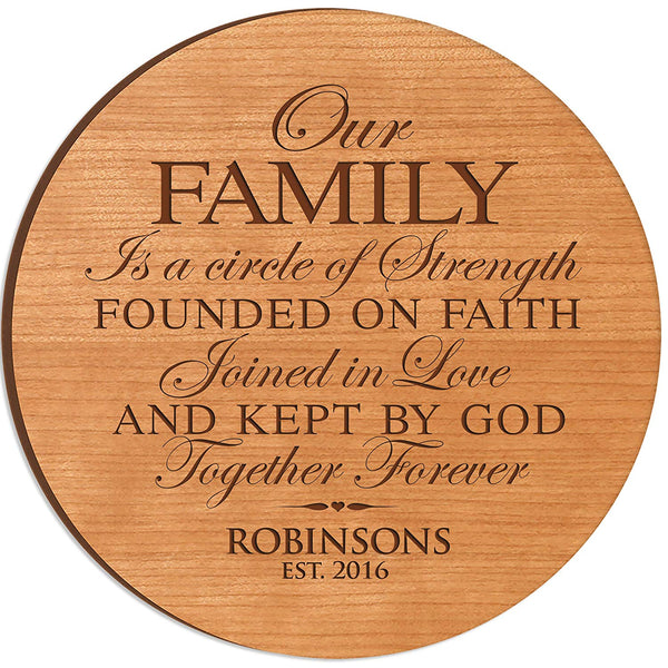 Personalized Wedding Anniversary Gifts with Family Established Year Our Family is a circle of strength 12 inch Lazy Susan Custom Engraved with Family Names and Dates by LifeSong Milestones
