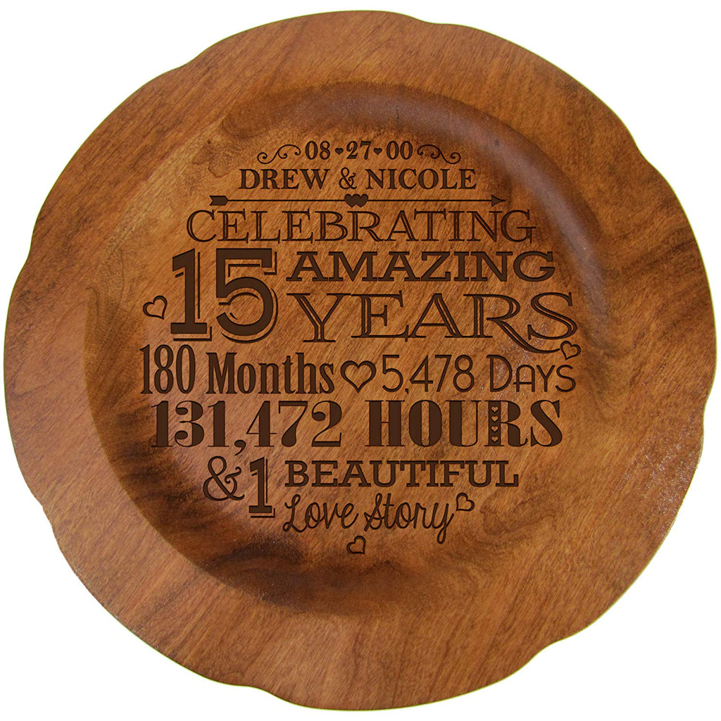 15th Wedding Anniversary Plate Gift For Couple 15 Year Anniversary