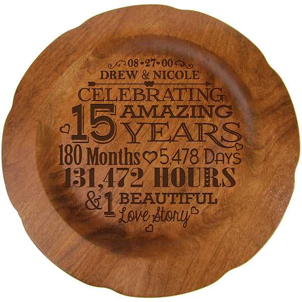 Personalized 15th Anniversary Plate for Couple - 15 Amazing Years