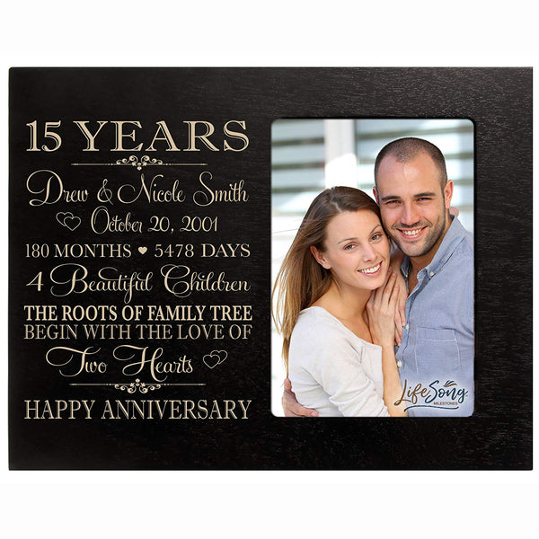Personalized Fifteen year anniversary gift for her him couple Custom Engraved wedding gift for husband wife girlfriend boyfriend photo frame holds 4x6 photo by LifeSong Milestones