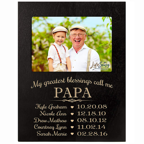 Personalized Gift for Papa Picture Frame with children's names and kid's birth date special dates My Greatest blessings call me Papa holds 4x6 photo by LifeSong Milestones