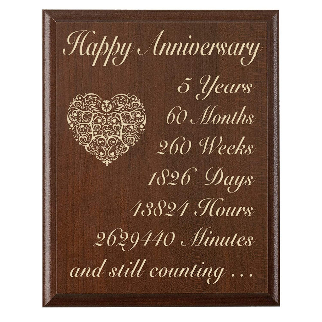 5th Wedding Anniversary Wall Plaque Gifts for Couple 5 Year ...