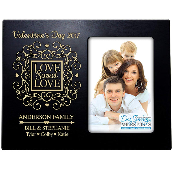 LifeSong Milestones Personalized Valentine's Day Photo Frame Gift Custom Engraved ideas for couple VALENTINES DAY Love Sweet Love Frame holds 4 x 6 picture