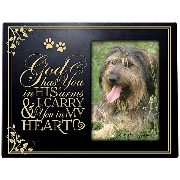 Pet Memorial Sympathy Photo Frame God Has You in His arms & I carry you in My Heart