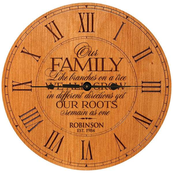 "Personalized Engraved Wall Clock - Our Family Like Branches On A Tree - 12"" Cherry by LifeSong Milestones"