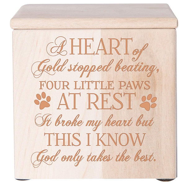 Cremation Urn/Memorial Keepsake Box for Pets - A Heart Of Gold Stopped Beating