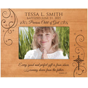 Baptism Photo Frame - James 1:17 - Holds 4x6 Photo