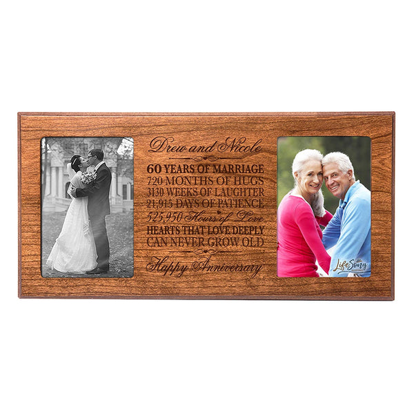 Personalized 60 year anniversary gift her him couple Custom Engraved wedding celebration for Husband wife girlfriend boyfriend photo frame holds two 4x6 photos by LifeSong Milestones
