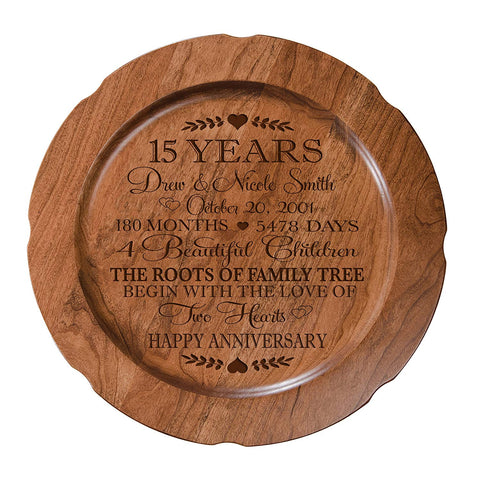 "15th Wedding Anniversary Plate Gift for Couple, 15 Year Anniversary Gifts for Her, Happy Wedding Anniversary 12"" D Custom Engraved for Husband or Wife By LifeSong Milestones USA Made"