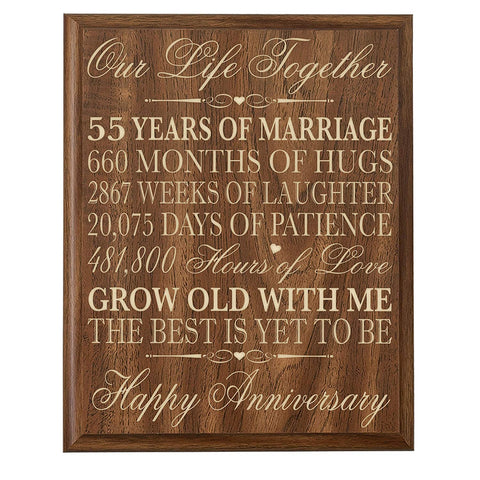 55th Wedding Anniversary Wall Plaque Gifts for Couple, 55th Anniversary Gifts for Her or Him Wall Plaque Special Dates to Remember By LifeSong Milestones