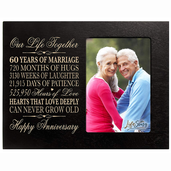 "60th Anniversary Gifts for her him 60 year wedding Anniversary gifts for couple parents Celebration picture frame Holds 4x6 Photo 8"" H X 10"" W"