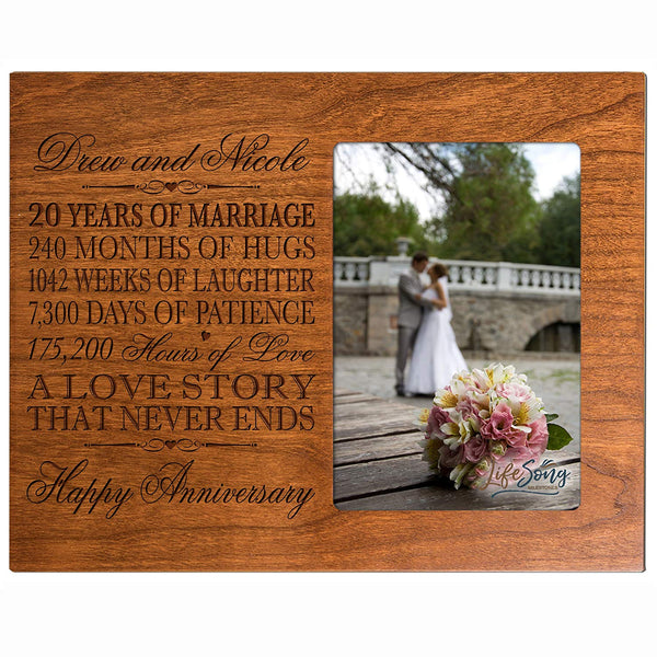 "LifeSong Milestones Personalized twenty year anniversary gift for her him couple Custom Engraved 20th year wedding anniversary celebration frame holds 4x6 photo frame size 10"" w x 8"" h x 1/2"" (Cherry)"