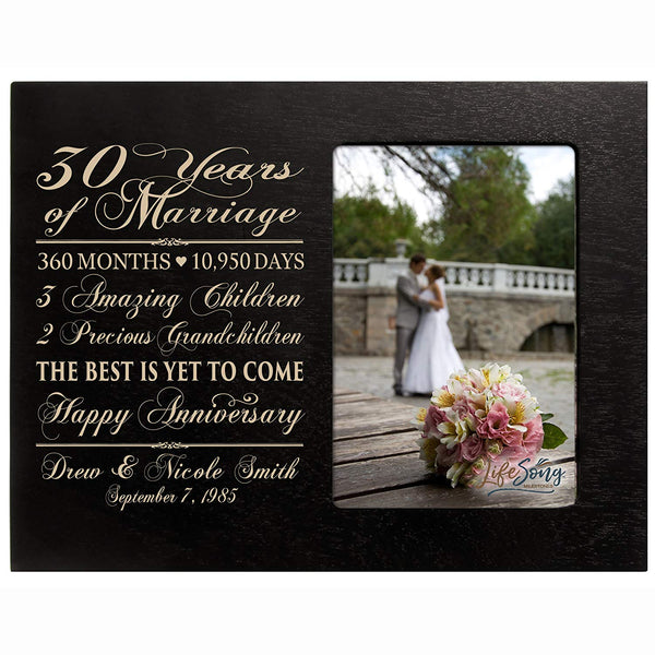 Personalized Thirty year anniversary gift for her him couple Custom Engraved wedding gift for husband wife girlfriend boyfriend photo frame holds 4x6 photo by LifeSong Milestones