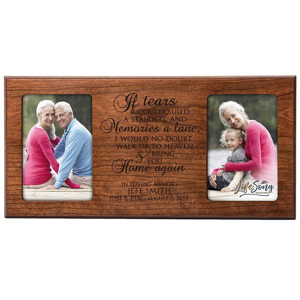Personalized Memorial Sympathy Picture Frame, If Tears Could Build A Stairway and Memories A Lane, Custom Frame Holds Two 4x6 Photos, Made In USA by LifeSong Milestones