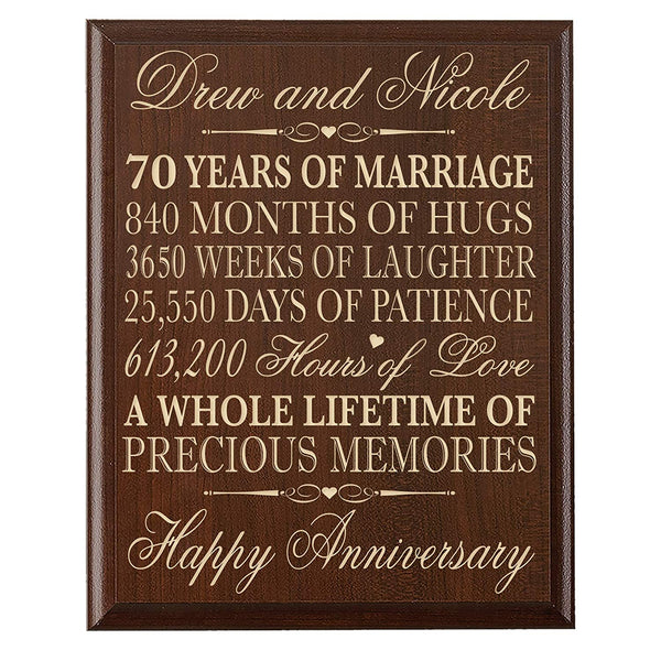 "Personalized 70th Wedding Anniversary Wall Plaque Gifts for Couple parents,Custom Laser Engraved 70th Anniversary Gifts for Her, 12"" W X 15"" H Wall Plaque"