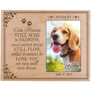 Custom Wooden Memorial 8x10 Picture Frame for Pet holds 4x6 photo Our Hearts Still Ache