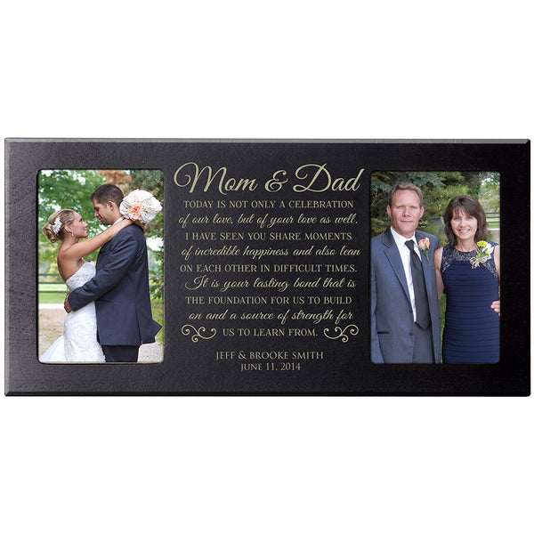 Personalized Parent Wedding Photo Frame (for Mom and Dad - Black)