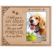 Custom Wooden Memorial 8x10 Picture Frame for Pet holds 4x6 photo I Held You