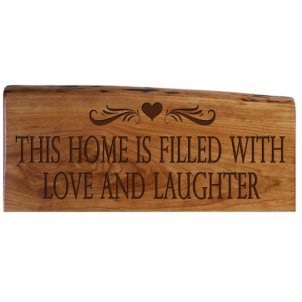 Family Gift Love Solid Cherry Live Edge Wood Wall Plaque Wedding Gift Ideas By LifeSong Milestones