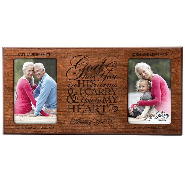 Personalized Memorial Sympathy Picture Frame, God Has You In His Arms & You in My Heart Missing You, Custom Frame Holds Two 4x6 Photos, Made In USA by LifeSong Milestones