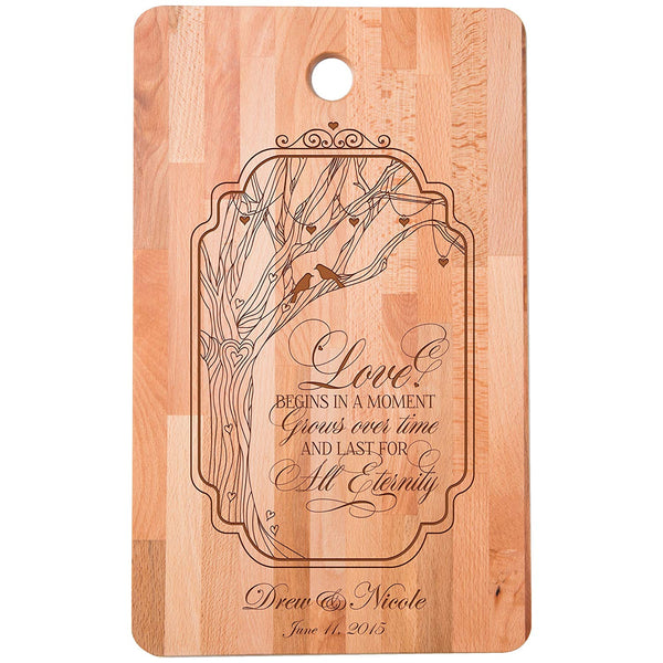 "Personalized bamboo Cutting Board reads Love Begins in a Moment Grows over Time for bride and groom Wedding Anniversary Gift Ideas for Him, Her, Couples Established Dates to Remember 11""w x 18""h"