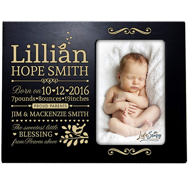 Personalized New Baby Photo Frame - The Sweetest Little Blessing Black