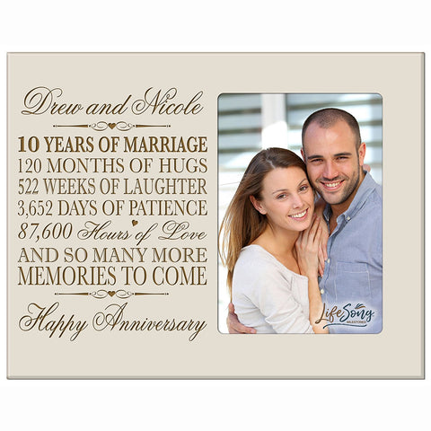 Personalized Ten Year Anniversary Picture Frame