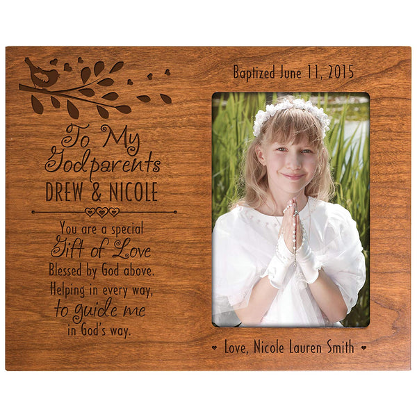 Personalized gift for Godparents from Godchild Baptism Photo Frame To my Godparents You are a special Gift of Love Blessed by God above Helping in every way Cherry picture frame holds 4x6 photo