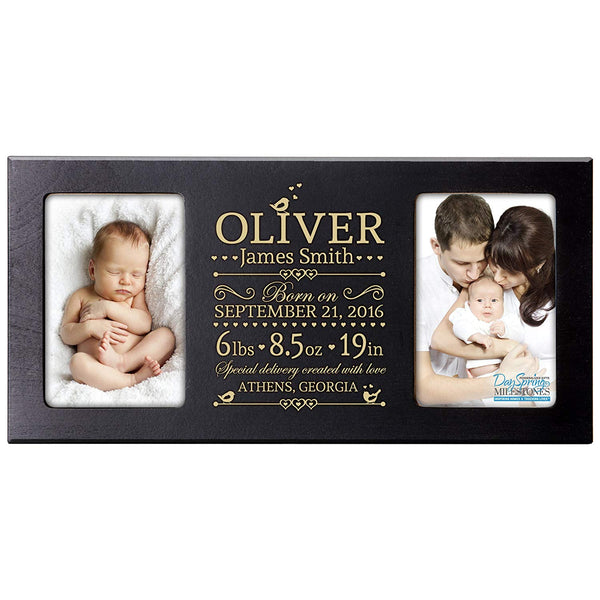 Personalized New Baby birth announcement picture frame for newborn boys and girls Custom engraved photo frame for new mom and dad parents and grandparents holds 2 4x6 photos