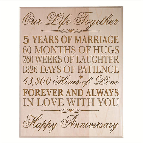 five year gift fifth year 5th for couple wall plaque wall decor maple