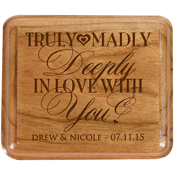 Personalized Double Cherry Wooden Double Wedding Ring Box for Ceremony ,Custom Engagement Ring Box Holder Truly Madly in Love with You By LifeSong Milestones