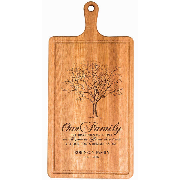 "Personalized Cherry Cutting Board Our Family Like Branches Last Name and Date for bride and groom Wedding Anniversary Gift Ideas for Him, Her, Couples Established Dates to Remember 15.75""w x 7.75""h"