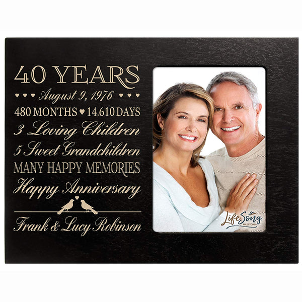 Personalized 40th Year Anniversary gift for her him couple Custom Engraved wedding gift for husband wife girlfriend boyfriend photo frame holds 4x6 photo by LifeSong Milestones