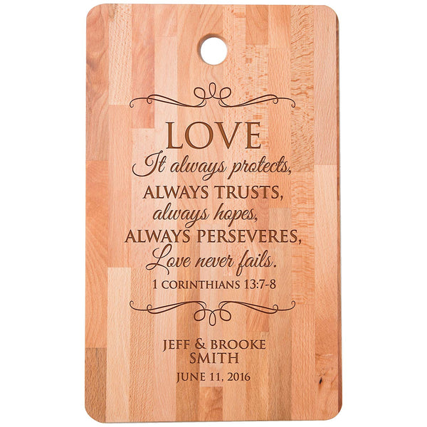 "Personalized bamboo Cutting Board reads Love always protects trusts perseveres for bride and groom Wedding Anniversary Gift Ideas for Him, Her, Couples Established Dates to Remember 11""w x 18""h"