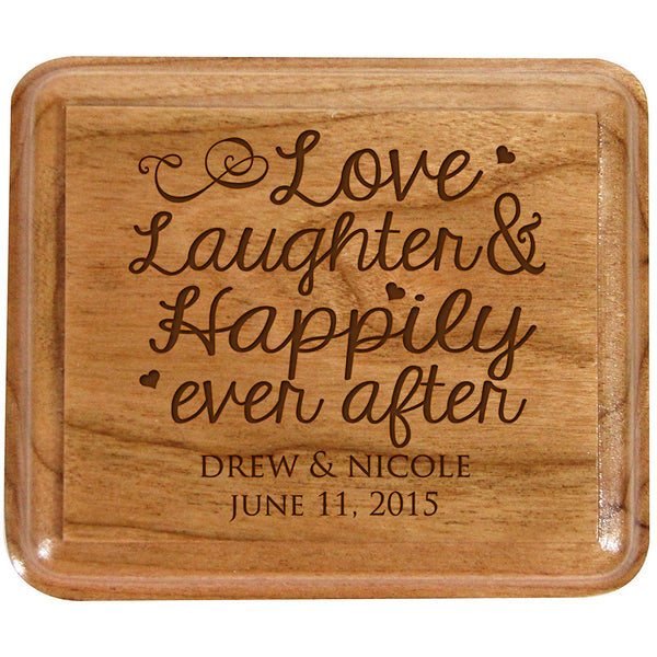 LifeSong Milestones Personalized Double Cherry Wooden Double Wedding Ring Box for Ceremony,Custom Engagement Ring Box Holder Love Laughter Happily Ever After