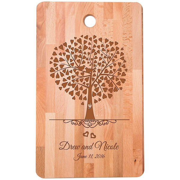 "Personalized bamboo Cutting Board for bride and groom Wedding Anniversary Gift Ideas for Him, Her, Couples Established Dates to Remember 11""w x 18""h"