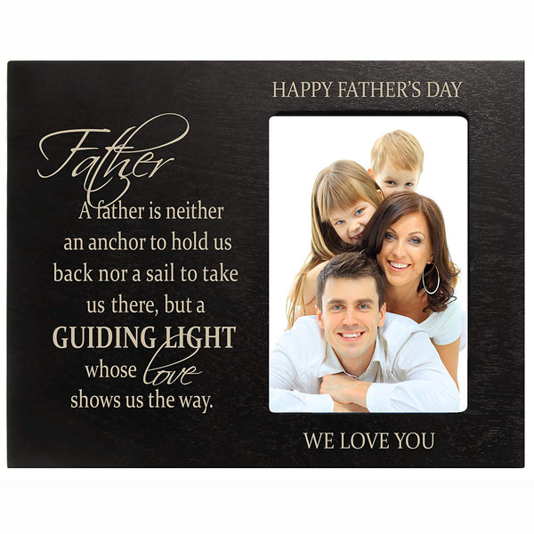 Personalized Happy Fathers Day Engraved Picture Frame - Guiding Light Black