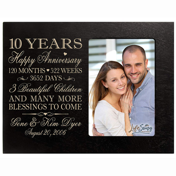 Personalized ten year anniversary gift for her him couple Custom Engraved wedding gift for husband wife girlfriend boyfriend photo frame holds 4x6 photo by LifeSong Milestones