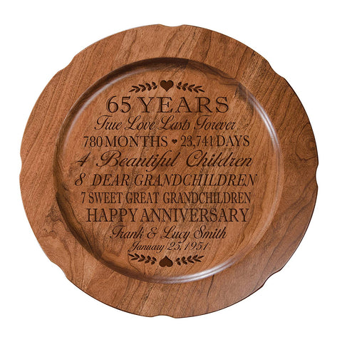 "65th Wedding Anniversary Plate Gift for Couple, Sixty-Fifth Happy Anniversary Gifts for Her, 12"" D Custom Engraved for Husband or Wife By LifeSong Milestones USA Made (Special Dates)"