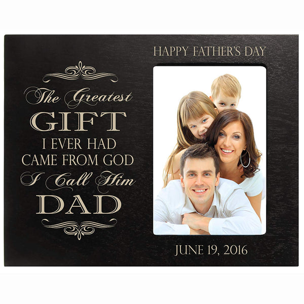 Personalized Happy Fathers Day Engraved Picture Frame - Greatest Gift Black