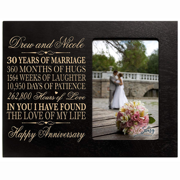 "Personalized 30 Year Anniversary Picture Frame Gift for her him couple Custom Engraved 30th year wedding celebration for husband wife Photo Frame Holds 1 4x6 Photo 8"" H X 10"""