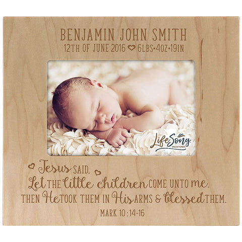 Personalized Birth Announcement Picture Frame - Mark 10:14-16