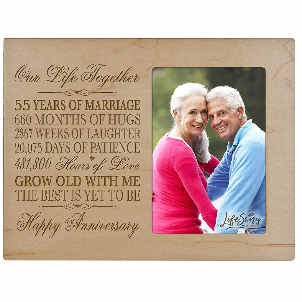 55th Year Wedding Anniversary Gift For Couple Custom Engraved 55th