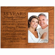 Personalized 35th Year Anniversary Photo Frame - Counting Our Blessings Cherry