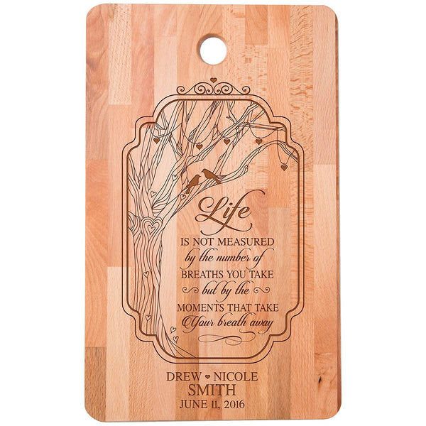 "Personalized bamboo Cutting Board Life is not measured by number of breaths for bride and groom Wedding Anniversary Gift Ideas for Him, Her, Couples Established Dates to Remember 11""w x 18""h"