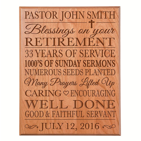 retirement gift for women men dad mom plaque sign wall decor hanging solid cherry