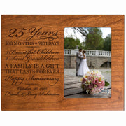 Personalized 25th Year Anniversary Photo Frame - Counting Our Blessings Cherry