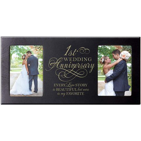 1st Wedding Anniversary Picture Frame Gift for Couple,1st Anniversary Gifts for Her,1st Wedding Anniversary Gifts for Him Photo Frame Holds 2- 4x6 Photos 8 Inches High X 16 Inches Wide (Black)