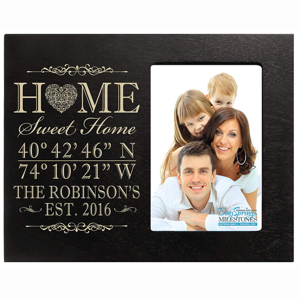 Personalized Home Coordinates Latitude Longitude GPS picture frame with Family last Name and Date Established Home Sweet Home Photo Frame Holds 4x6 picture by LifeSong Milestones