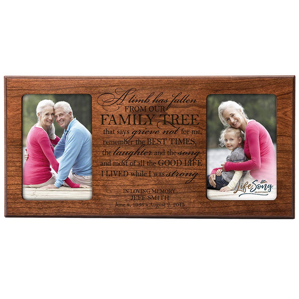 Personalized Memorial Sympathy Picture Frame, A Limb Has Fallen From Our Family Tree That Says Grieve Not For Me, Custom Frame Holds Two 4x6 Photos, Made In USA by LifeSong Milestones